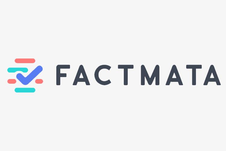 Il logo di Factmata: linee orizzontali arrontondate con una spunta blu. Factmata è un servizio per contrastare le fake news.