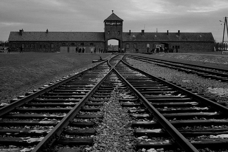 Rotaie che portano al campo di concentramento di Auschwitz