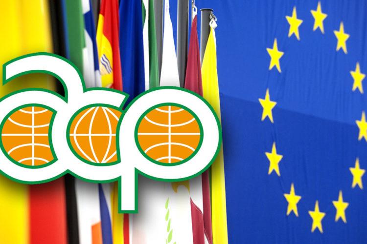 Logo del Gruppo ACP affiancato alla bandiera dell'Unione Europea.