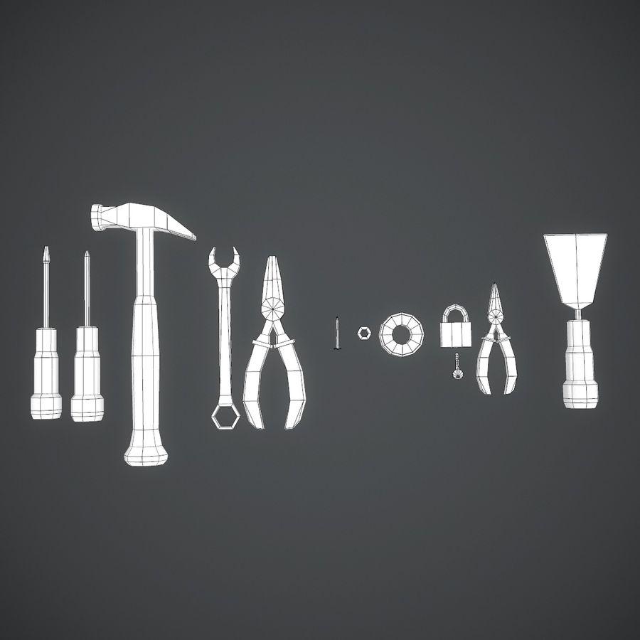 Serie di attrezzi utili per aggiustare le cose in casa