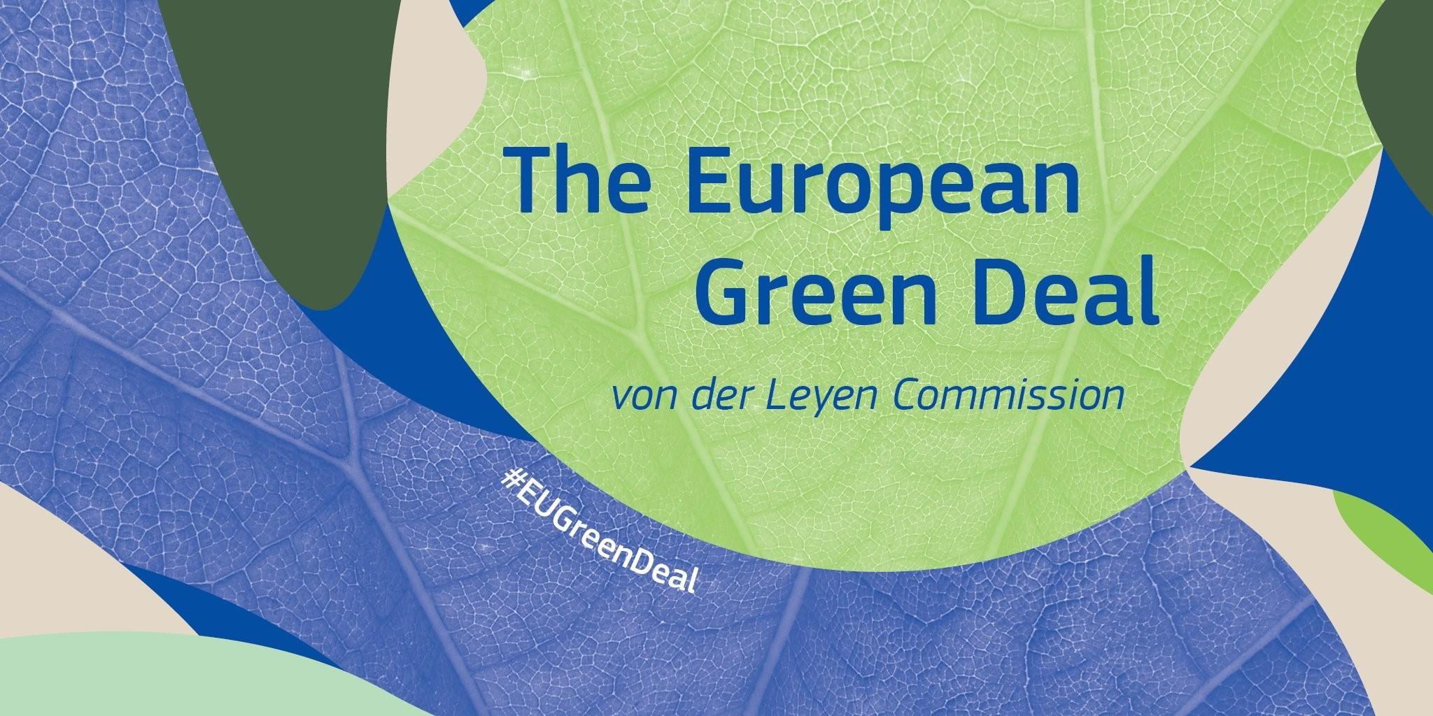 "Foglie blu e verdi con la scritta ""The Europea Green Deal von der Leyen Commission #EUGreenDeal"""
